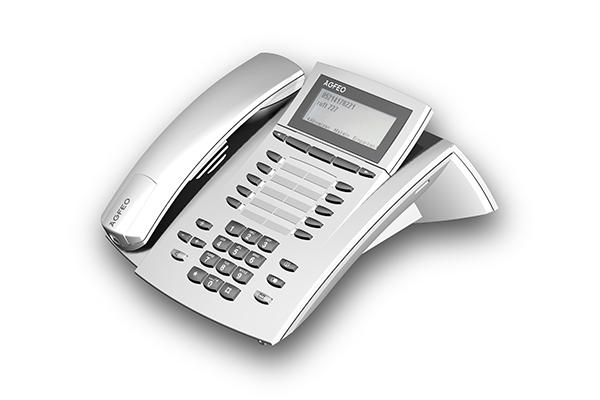 Agfeo ST 40, Produktdesign-Studie von Constin, Rendering aus SolidWorks: silbernes Telefon mit Tastenblock und schrägangestelltem Display. Hörer liegt links auf.