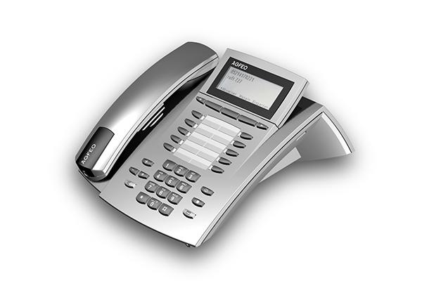 ST 40, Produktdesign-Studie von Constin, Rendering aus SolidWorks: silbernes Telefon mit schwarzen Akzenten, einem Tastenblock und schrägangestelltem Display. Hörer liegt links auf.