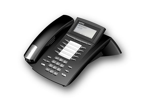 ST 40, Produktdesign-Studie von Constin, Rendering aus SolidWorks: schwarzes Telefon mit silbernen Akzenten, einem Tastenblock und schrägangestelltem Display. Hörer liegt links auf.