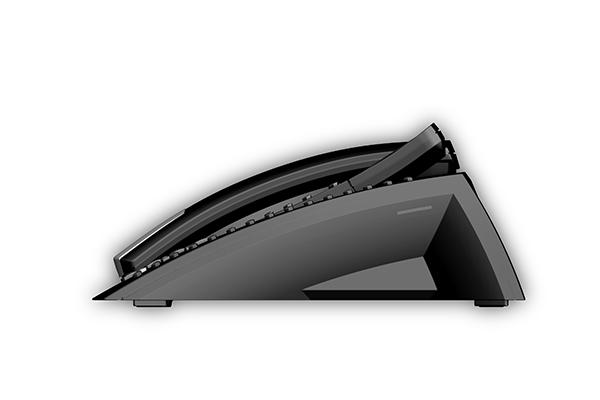 ST 40, Produktdesign-Studie von Constin, Rendering aus SolidWorks: schwarzes Telefon mit silbernen Akzenten, einem Tastenblock und schrägangestelltem Display. Hörer liegt links auf, Seitensicht