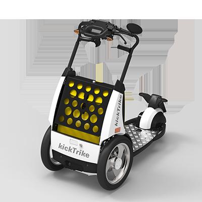 kickTrike, Produktdesign, Engineering und Prottypenbau von Constin, Patente von Constin, dreirädriges Fahrzeug mit Blechschütte und gelber Tasche
