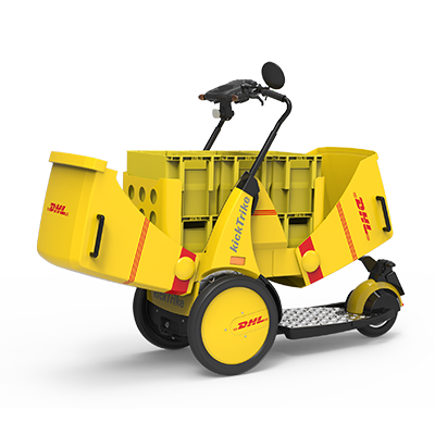 kickTrike, Produktdesign, Engineering und Prottypenbau von Constin, Patente von Constin, dreirädriges Fahrzeug mit Schwerlast, Postkästen