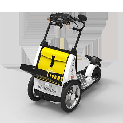 kickTrike, Produktdesign, Engineering und Prottypenbau von Constin, Patente von Constin, dreirädriges Fahrzeug mit gelber Tasche