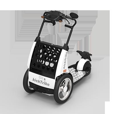 kickTrike, Produktdesign, Engineering und Prottypenbau von Constin, Patente von Constin, dreirädriges Fahrzeug mit Blechschütte zugeklappt