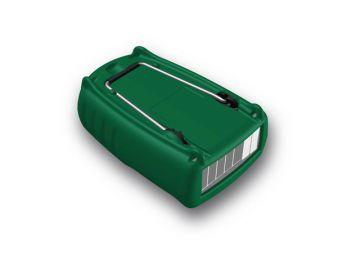 Prallschutz für Almemo 2490: Produktdesign, Engineering, Rapid Prototyping (3D-Druck) und Sereienentwicklung und - betreuung by Constin, Hier ein Rendering aus SolidWorks: es zeit ein rechteckiges Designgehäuse mit einer grünen Hülle von hinten