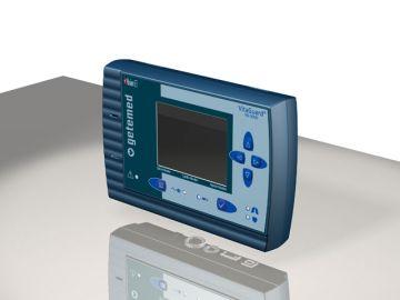 VitaGuard VG 3100, Produktdesign, Engineering, Prototyping - CNC-Fraesen, Serienproduktion: Vakuumguss von Constin, Rendering aus SolidWorks zeigt ein türkisblaues Designgehäuse mit großem Display auf grauem HIntergrund