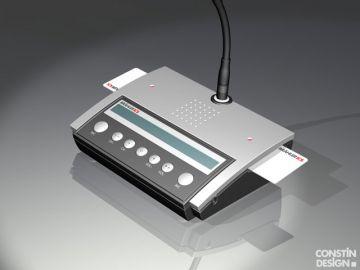 P8, Projektbetreuung vom Produktdesign bis zur Kleinserie von Constin, das Rendering aus SolidWorks zeigt ein Kunststoffgehäuse eines silbernen Pults mit runden Tasten und Display