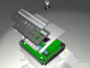P8, Projektbetreuung vom Produktdesign bis zur Kleinserie von Constin, das Rendering aus SolidWorks zeigt ein Kunststoffgehäuse eines silbernen Pults, Explosionsdarstellung