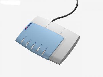 FRITZ!Box für Arcor, Designstudie aus SolidWorks, Designgehäuse hier in Perspektive diverse Farbvarianten: hier in türkis und grau mit Kabel (schwarz)