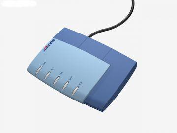 FRITZ!Box für Arcor, Designstudie aus SolidWorks, Designgehäuse des Routers r hier in Perspektive diverse Farbvarianten: hier in dunkel und mittelblau und schwarzem Kabel