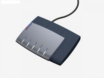 FRITZ!Box für Arcor, Designstudie aus SolidWorks, Designgehäuse des Router hier in Perspektive diverse Farbvarianten: hier schwarz-grau mit schwarzem Kabel
