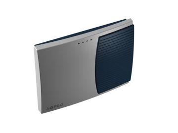 AS 3000, Produktdesign, Konstruktion, CNC-Fraesteile und Vakuumgussteile von Constin, Hier ein Rendering aus SolidWorks, das eine rechteckige, dynamisch gestylte Box in silber und blau zeigt, Perspektive 01