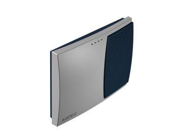 AS 3000, Produktdesign, Konstruktion, CNC-Fraesteile und Vakuumgussteile von Constin, Hier ein Rendering aus SolidWorks, das eine rechteckige, dynamisch gestylte Box in silber und blau zeigt, Perspektive 03