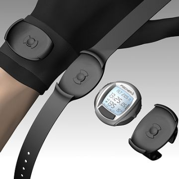Sportuhr, Produktdesign von Constin, hier ein fotorealistisches Rendering aus SolidWorks des Designgehäuses der Sportuhr: silbern, rund mit großem Display, mit Adapter für Armband