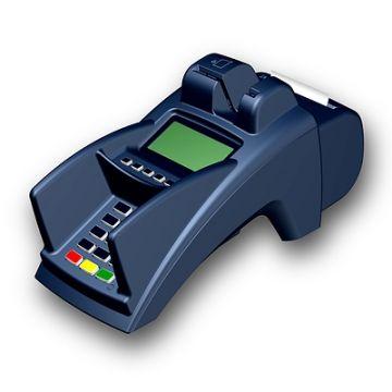 ZVT 3000, Produktdesign, Konsturktion und Vakuumguss von Constin, hier dargestellt ein Rendering aus SolidWorks: blaues EC-Zahlsystem mit Display mit Drucker, von vorn mit sichtbaren Tasten