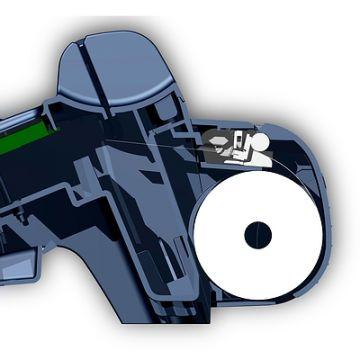 ZVT 3000, Produktdesign, Konsturktion und Vakuumguss von Constin, hier dargestellt ein Rendering aus SolidWorks: blaues EC-Zahlsystem mit Display mit Drucker, Schnittdarstellung