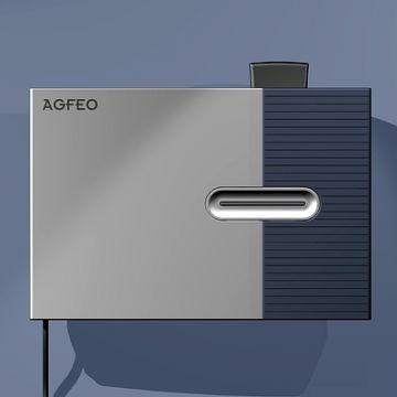 TK-HomeServer, Produktdesign und 3D-Druck von Constin, Rendering von rechteckigem Gerät mit Kabel auf blauem Hintergrund, Solid Works, Draufsicht