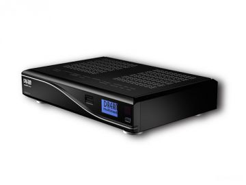 DM8000 HD PVR, Produktdesign by Constin, Rendering aus SolidWorks: schwarzes Designgehäuse mit silberner Welle,Perspektive
