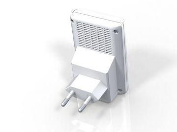 FRITZ!WLAN Repeater 310, Produktdesign, Konstruktion, Prototyping -3D-Druck von Constin, hier ein fotorealistisches Rendering aus SolidWorks des Designgehäuses, einer rechteckigen Box mit Stecker, charkteristisch rot + weiß, von hinten (weiß)