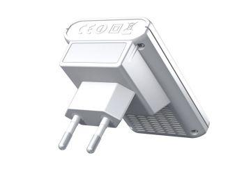 FRITZ!WLAN Repeater 310, Produktdesign, Konstruktion, Prototyping -3D-Druck von Constin, hier ein fotorealistisches Rendering aus SolidWorks des Designgehäuses, einer rechteckigen Box mit Stecker, charkteristisch rot + weiß, von hinten oben