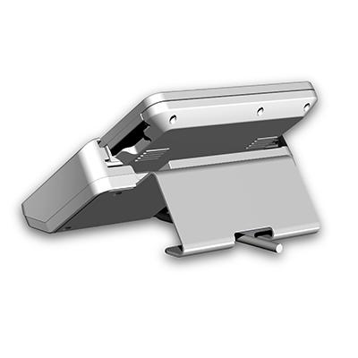 Display mit Halter, Stand-Alone-Display für Vakuclaven: Produktdesign + Konstruktion + Prototyping (3D-Druck) von Constin. Das rendering aus SolidWorks zeigt ein Display mit einem Rahmen aus Kunststoff in silber.