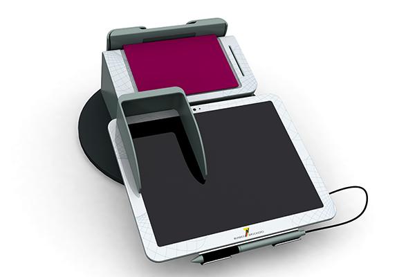 Behördenterminal: Produktdesign, Designstudie von Constin, hier ein Rendering des Designgehäuses aus SolidWorks mit digitalem Schreib-Pad und eingelegtem Pass von vorn