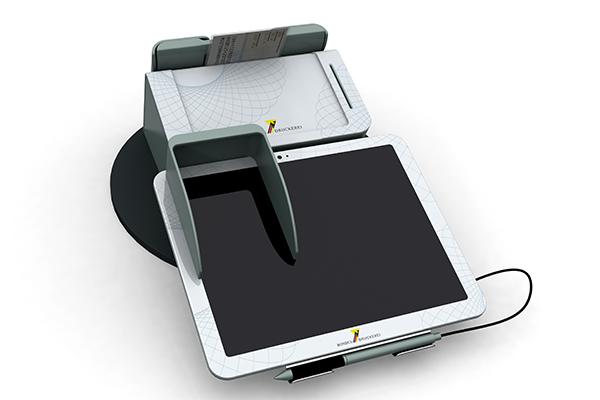 Behördenterminal: Produktdesign, Designstudie von Constin, hier ein Rendering des Designgehäuses aus SolidWorks mit digitalem Schreib-Pad und eingelegtem Personalausweis von vorn