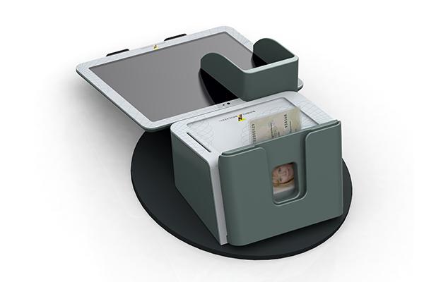 Behördenterminal: Produktdesign, Designstudie von Constin, hier ein Rendering des Designgehäuses aus SolidWorks mit digitalem Schreib-Pad und eingelegtem Pass von hinten