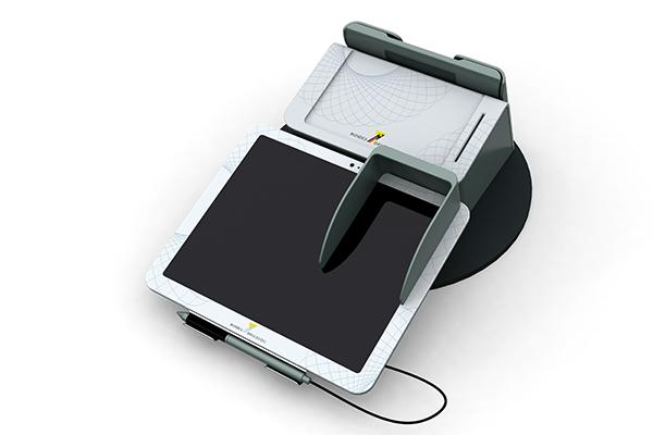 Behördenterminal: Produktdesign, Designstudie von Constin, hier ein Rendering des Designgehäuses aus SolidWorks mit digitalem Schreib- und PIN-Pad von vorn