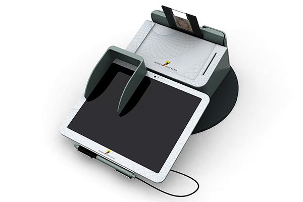 Behördenterminal: Produktdesign, Designstudie von Constin, hier ein Rendering des Designgehäuses aus SolidWorks mit digitalem Schreib- und PIN-Pad und eingelegtem Personalausweis von vorn