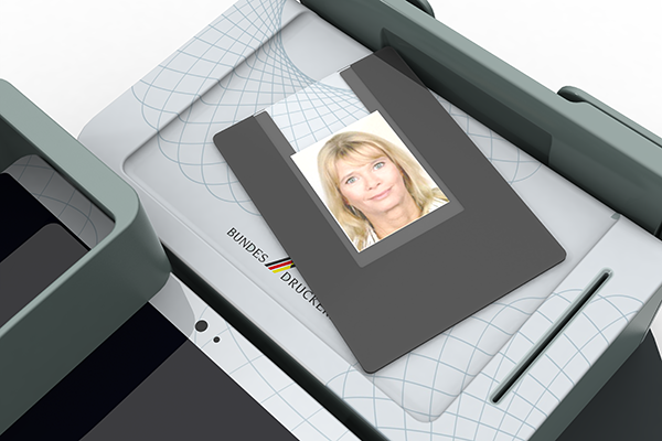 Behördenterminal: Produktdesign, Designstudie von Constin, hier ein Rendering des Designgehäuses aus SolidWorks mit Scanner für biometrische Daten und Personalausweis von vorn, Detailansicht
