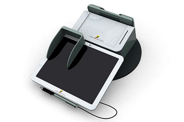 Behördenterminal: Produktdesign, Designstudie von Constin, hier ein Rendering des Designgehäuses aus SolidWorks mit digitalem Schreib- und PIN-Pad (Variante 02) von vorn