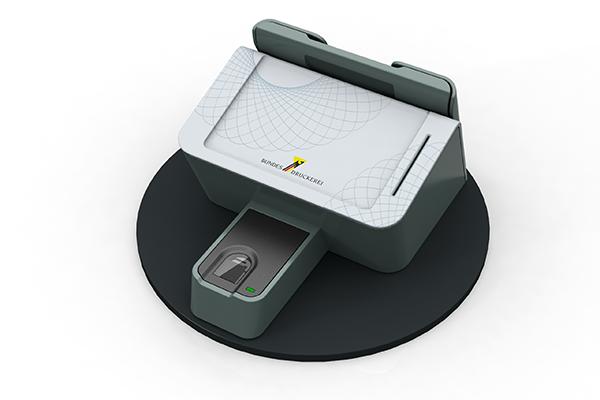 Behördenterminal: Produktdesign, Designstudie von Constin, hier ein Rendering des Designgehäuses aus SolidWorks mit Scanner für biometrische Daten und Fingerprint-Scanner von vorn
