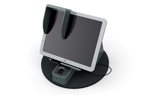 Behördenterminal: Produktdesign, Designstudie von Constin, hier ein Rendering des Designgehäuses aus SolidWorks mit digitalem Schreib-Pad und Fingerprint-Scanner von vorn