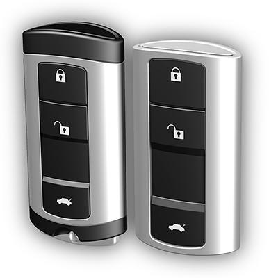 Funkfernbedienung für VW: Produktdesign von Constin, hier: Rendering aus SolidWorks von 2 schwarz-silbernen Kunststoffgehäusen, perspektivisch