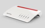 FRITZ!Box 7590, Produktdesign, Konstruktion, Prototypenbau (3D-Druck + Vakuumguss) von Constin, hier ein fotorealistisches Rendering aus SolidWorks des weißen wellenförmigen Kunststoffgehäuses mit rotem Einsatz für Lüftungsschlitze von schräg oben