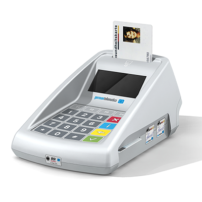 GT900 BCS, Productdesign, und Designmodell (3D-Druck) by Constin, rendering aus SolodWorks: Designgehäuse eines weißen Kartenlesers mit Folientastatur mit Karnkenkassenkarte steckend