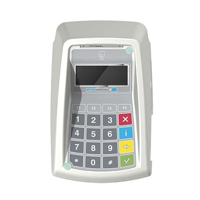 GT900 BCS, Productdesign, und Designmodell (3D-Druck) by Constin, rendering aus SolodWorks: Designgehäuse eines weißen Kartenlesers mit Folientastatur von oben