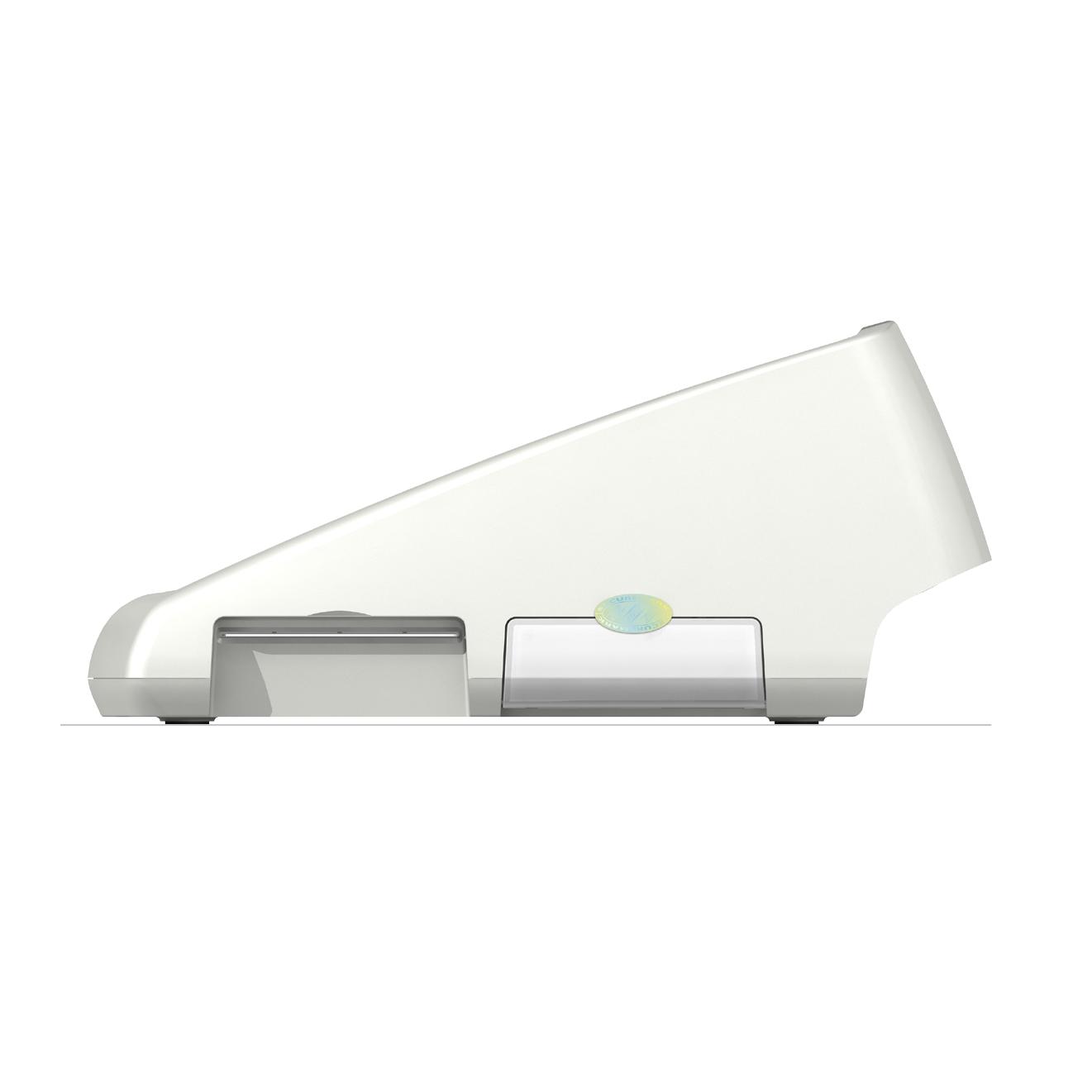 GT900 BCS, Productdesign, und Designmodell (3D-Druck) by Constin, rendering aus SolodWorks: Designgehäuse eines weißen Kartenlesers mit Folientastatur von der Seite