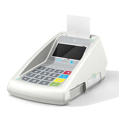 GT900 BCS, Productdesign, und Designmodell (3D-Druck) by Constin, rendering aus SolodWorks: Designgehäuse eines weißen Kartenlesers mit Folientastatur