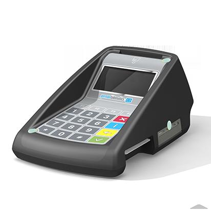 GT900 BCS, Productdesign, und Designmodell (3D-Druck) by Constin, rendering aus SolodWorks: Designgehäuse eines schwarzen Kartenlesers mit Folientastatur