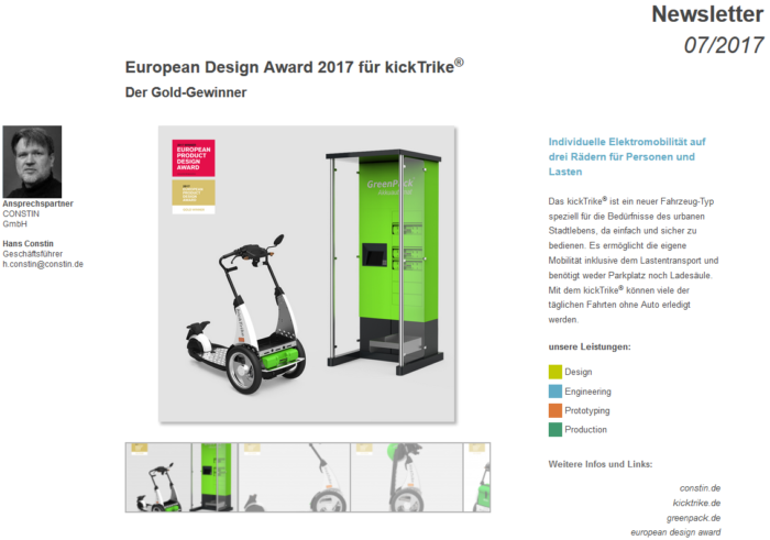 DesignNews 07/2017: Constin erhielt für das kickTrike den European Productdesign Award Gold 2017