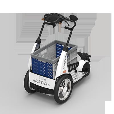 kickTrike, Produktdesign, Engineering und Prottypenbau von Constin, Patente von Constin, dreirädriges Fahrzeug mit blaugrauem Plastikkasten
