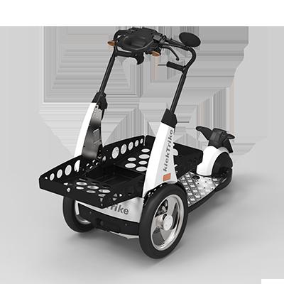 kickTrike, Produktdesign, Engineering und Prottypenbau von Constin, Patente von Constin, dreirädriges Fahrzeug mit großer Blechschütte