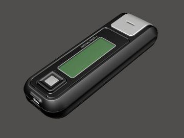 TopSec Mobile, Produktdesign, Engineering, Prototyping und Vakuumguss von Constin, hier ein Rendering aus SolidWorks des Designgehäuses: einhandy-ähnliches Gerät mit großen Display, von vorn oben, Designvariante 01