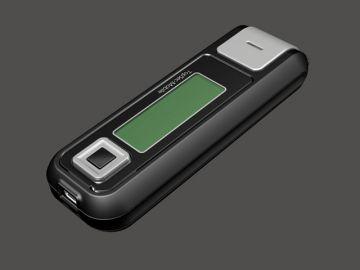 TopSec Mobile, Produktdesign, Engineering, Prototyping und Vakuumgus von Constin, hier ein Rendering aus SolidWorks des Designgehäuses: einhandy-ähnliches Gerät mit großen Display, von vorn oben, Designvariante 02