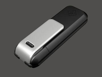 TopSec Mobile, Produktdesign, Engineering, Prototyping und Vakuumgus von Constin, hier ein Rendering aus SolidWorks des Designgehäuses: einhandy-ähnliches Gerät mit großen Display, von hinten mit Clip
