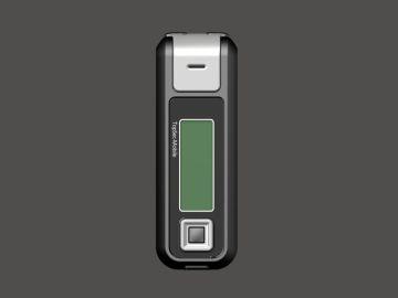 TopSec Mobile, Produktdesign, Engineering, Prototyping und Vakuumguss von Constin, hier ein Rendering aus SolidWorks des Designgehäuses: einhandy-ähnliches Gerät mit großen Display, frontal, Designvariante 01