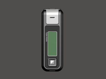 TopSec Mobile, Produktdesign, Engineering, Prototyping und Vakuumguss von Constin, hier ein Rendering aus SolidWorks des Designgehäuses: einhandy-ähnliches Gerät mit großen Display, frontal, Designvariante 02