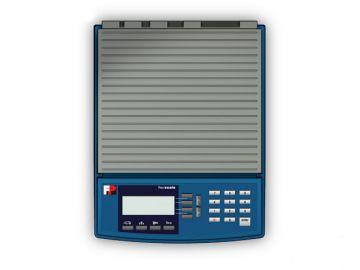 FlexiScale, Produktdesign + Designmodell aus der CNC-Fraese von Constin, Rendering aus SolidWorks: Draufsicht auf blaugraue Briewaage mit Display und Tasten.